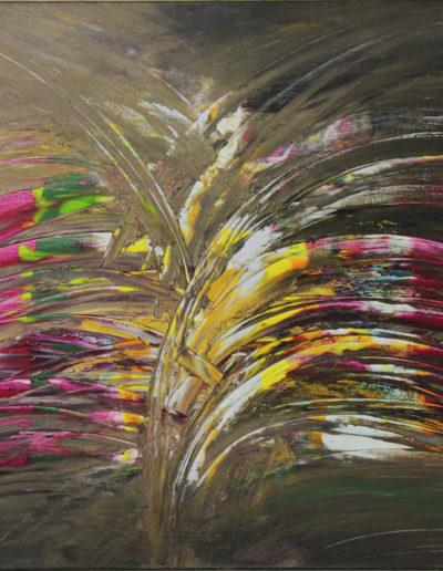 Mya Lurgo, Coincidenze al bivio, tecnica mista su tela, 70x100 cm, 2000
