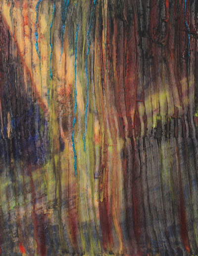 Mya Lurgo, Come pioggia fine, tecnica mista su tela, 100x70 cm, 2003