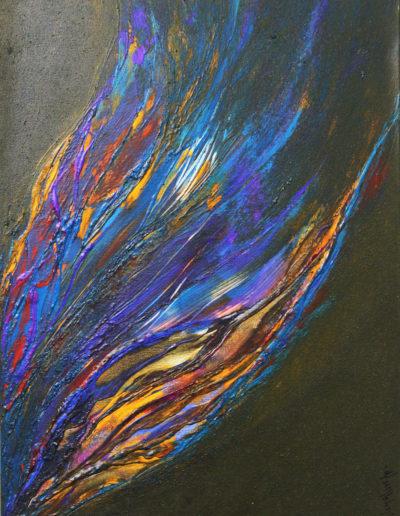 Mya Lurgo, Verticalità, tecnica mista su tela, 80x60x2 cm, 1996