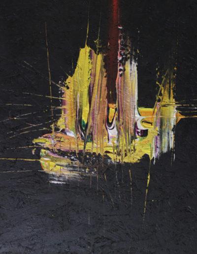 Mya Lurgo, ElevAzione, olio su compensato, 61x61 cm, 2002