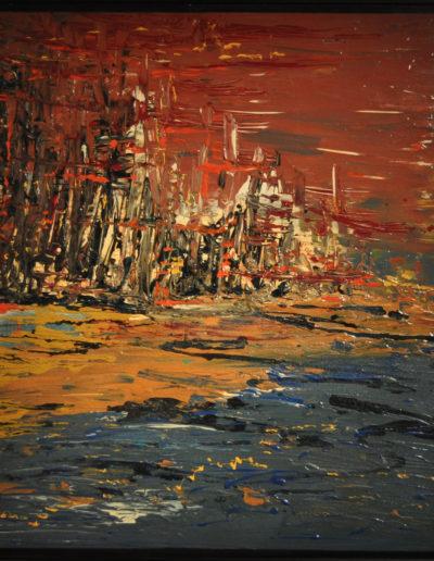 Mya Lurgo, La città che sale, tecnica mista su tela, 1997
