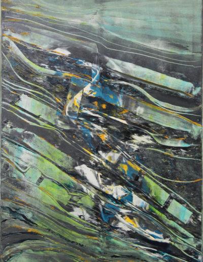 Mya Lurgo, Mentalità contro, tecnica mista su tela, 70x100 cm, 2000