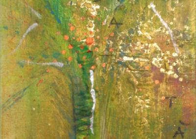 Mya Lurgo, C.A.R.I.T.À: Cortese Abbondanza Riversata Incondizionatamente Trasmette Amore, Tavola Parolibera e acronimo, tela, tecnica mista, resina, 13x18x9 cm, 2015