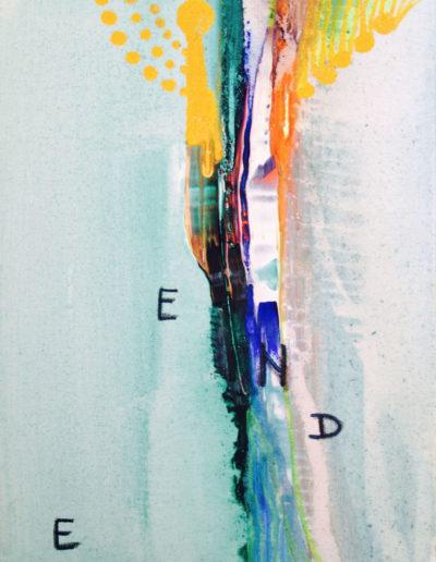 Mya Lurgo, E.D.E.N: Esprimere Dimensione Ermafrodita Nobilita, Tavola Parolibera e acronimo, tela, tecnica mista, resina, 13x18x9 cm, 2015