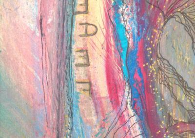 Mya Lurgo, F.E.D.E: Fiducia Esaltata Determina Eccezioni, Tavola Parolibera e acronimo, tela, tecnica mista, resina, 13x18x9 cm, 2015