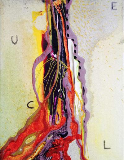 Mya Lurgo, L.U.C.E: Liturgica Unione Comporta Estasi, Tavola Parolibera e acronimo, tela, tecnica mista, resina, 13x18x9 cm, 2015