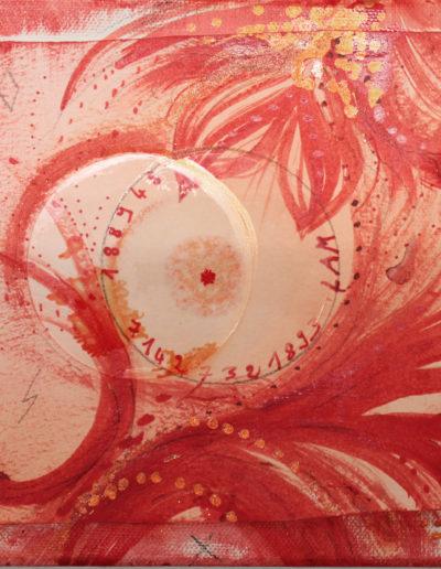 Mya Lurgo, Fondamento Vitale in Abbondanza, Chakra1, LAM, cerchi di vetro, acqua, tempera, carta, 1888948 71427321893, 20x20 cm, 2015