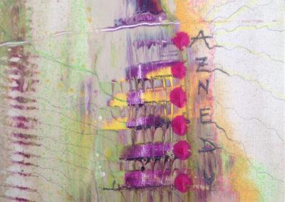 Mya Lurgo, P.R.U.D.E.N.Z.A: Per Rischiare Un Decimo E Non Zavorrare Ancora, Tavola Parolibera e acronimo, tela, tecnica mista, resina, 13x18x9 cm, 2015