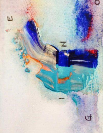 Mya Lurgo, G.E.N.I.O: Gaudere Eterico Non Implica Orgasmo, Tavola Parolibera e acronimo, tela, tecnica mista, resina, 13x18x9 cm, 2015