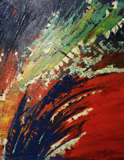 Mya Lurgo, Vicoli Verticali, olio su tela, 100x100 cm, 1997