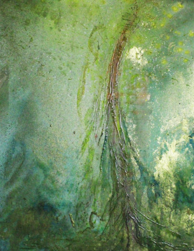 Mya Lurgo, Vicoli Verticali, tecnica mista su tela, 50x50 cm, 1997