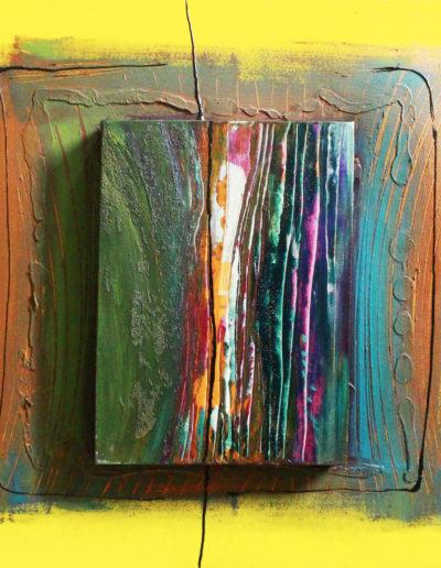Mya Lurgo, Vicoli Verticali, tecnica mista su tela, 50x50 cm, 1999