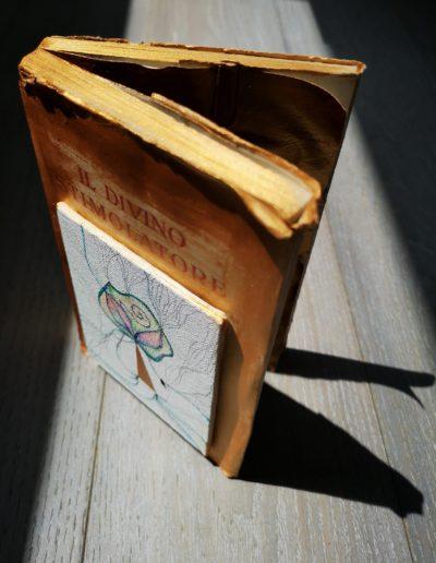 Mya Lurgo, Il divino stimolatore aleggia ovunque, testo antico dipinto, acrilico, tela, matite, stilografica. Chiuso: 12x19x3 cm, aperto: 24x19x3 cm. Aranno, 2019